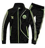 Спортивный костюм Adidas, ченый костюм, с салатовыми лампасами, ф2937