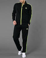 Спортивный костюм Adidas, черный костюм, с салатовыми лампасами, ф2964