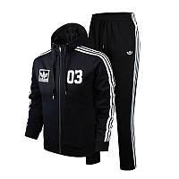 Спортивный костюм Adidas, черный костюм с лампасами, ф2966