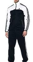 Спортивный костюм Adidas, черный костюм с белым верхом кофты, с лампасами, ф2976