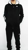 Спортивный костюм Adidas, черный костюм, с капюшоном, с лампасами, ф2983