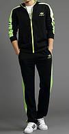Спортивный костюм Adidas, черный костюм, с салатовыми лампасами, ф2989