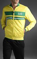Спортивный костюм Armani, желтая кофта с зелёной вставкой, черные штаны, ф3001
