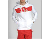 Спортивный костюм Armani, белая кофта с красной вставкой, красные штаны, ф2997