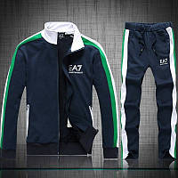Спортивный костюм Armani, темно-синий костюм с зелёными и белыми вставками, ф3012