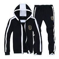 Спортивный костюм Armani, черный костюм, с капюшоном, с белыми вставками, ф3019
