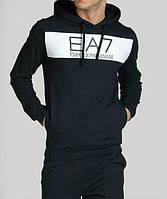 Спортивный костюм Armani, черный костюм, с капюшоном, с белыми вставками, ф3020