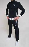 Спортивный костюм Armani, черный костюм, с белыми вставками, ф3024