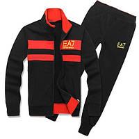 Спортивный костюм Armani, черный костюм, с красными вставками, ф3022