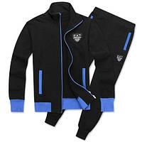 Спортивный костюм Armani, черный костюм, с синими вставками, ф3023