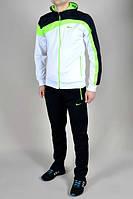 Спортивный костюм Nike, белый с черными вставками, черные штаны, ф3040