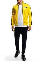 Спортивный костюм Nike, желтая кофта на змейке, черные штаны, ф3045