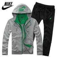 Спортивный костюм Nike, серый кенгуру с зелеными вставками, черные штаны, ф3060