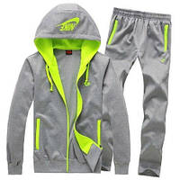 Спортивный костюм Nike, серый, с салатовыми вставками, ф3071