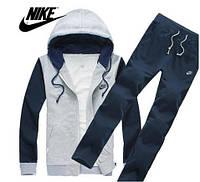 Спортивный костюм серый, с синими рукавами и синими штанами, ф3086