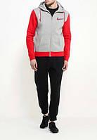 Спортивный костюм Nike серый с красными вставками, черные штаны, ф3088
