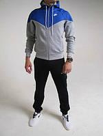 Спортивный костюм Nike, черные штаны, серое туловище, синий верх, ф3099