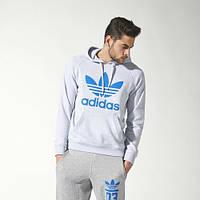 Спортивный костюм Adidas, серый кенгуру, синий логотип, ф3269