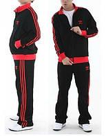 Спортивный костюм Adidas, черный с красными вставками и лампасами, ф3282