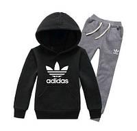 Спортивный костюм Adidas, черный верх кенгуру, серый низ, ф3286