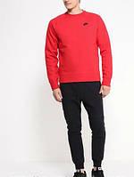 Спортивный костюм найк, красный верх, черный низ, хлопок, ф3341