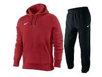 Спортивный костюм найк, черные штаны, красная кофта кенгуру, ф3342