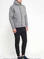 Спортивный костюм Nike, черные штаны, серая кофта кенгуру, ф3369
