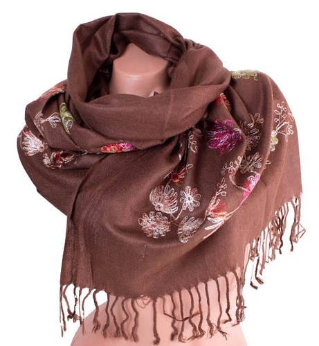Модный женский шерстяной шарф 166 на 63 см ETERNO (ЭТЕРНО) ES0206-7-brown коричневый