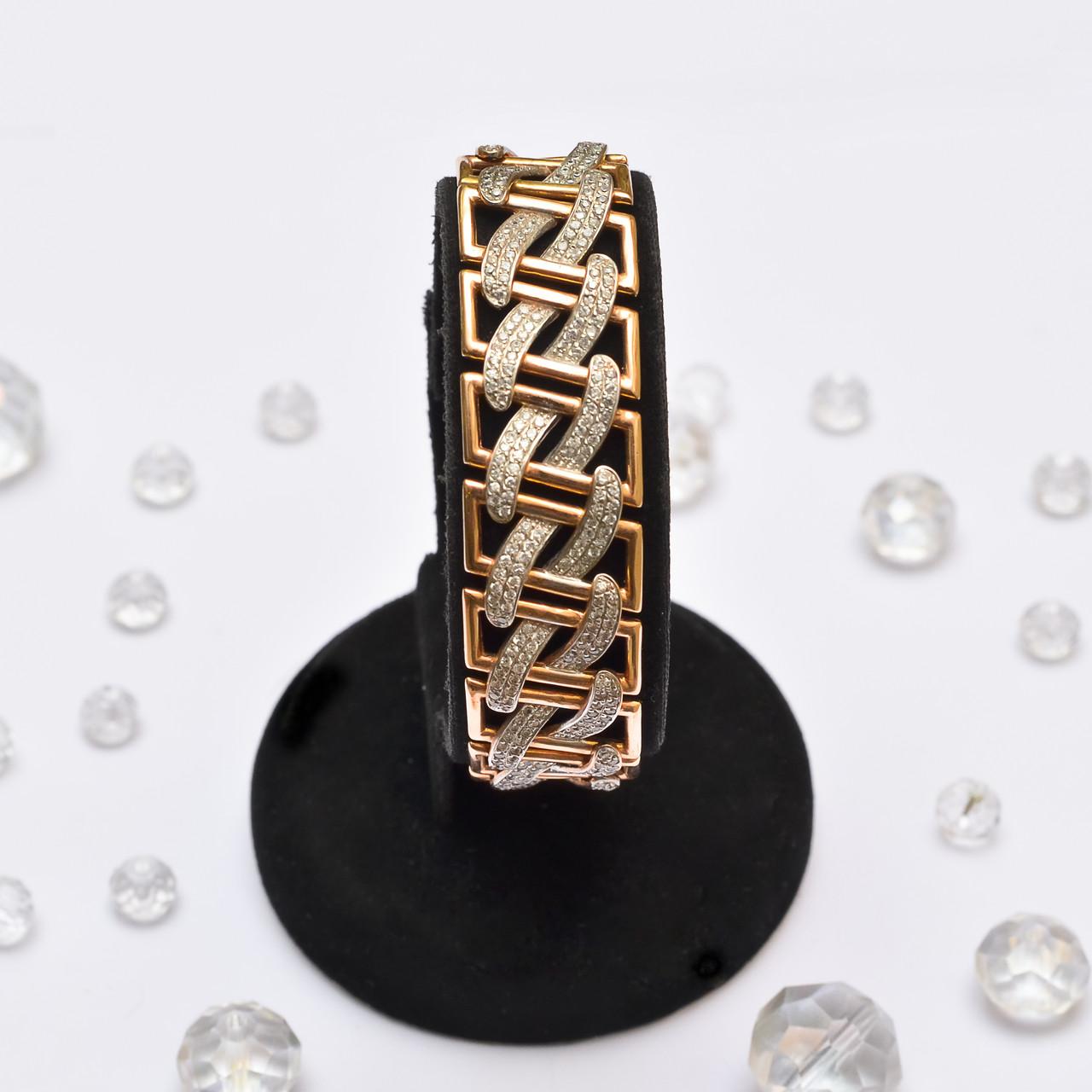 Широкий золотой браслет с цирконием 92387