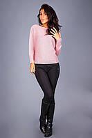 Элегантный цельновязаный женский джемпер   розовый