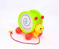 Каталка 8002 (48/2) улитка, музыкальная, на верёвке, 2 вида, в кульке