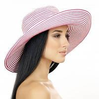 Шляпа женская в полоску с моделируемыми полями , фото 1