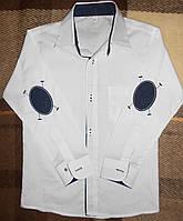 Рубашка белая с синими нашивками, 7 - 10 лет