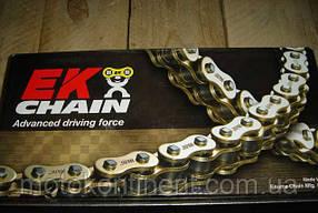 Мото цепь  525 EK CHAIN 525SRX2 GG золотая тип сальника X-Ring размер цепи 525 на 122 звеньев