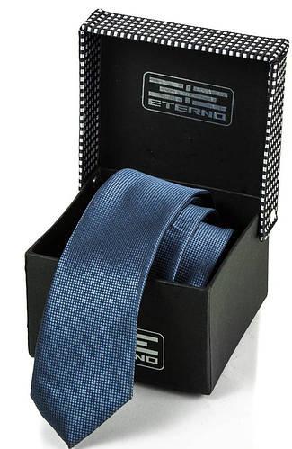 Строгий мужской шелковый галстук ETERNO (ЭТЕРНО) ETEG663 синий