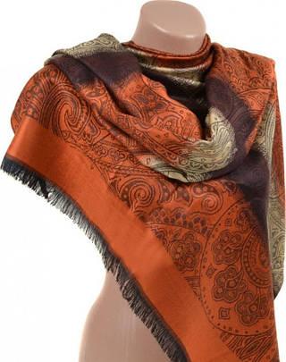 Великолепный женский кашемировый палантин размером 70*180 см Подиум 32040-5 (оранжевый с коричневым)