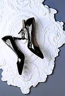 Женские чёрные туфельки на каблуке