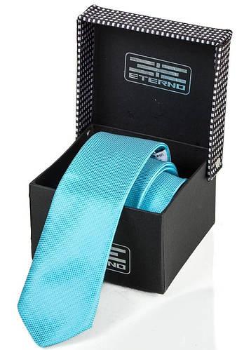 Яркий мужской шелковый галстук ETERNO (ЭТЕРНО) ETEG665 бирюзовый