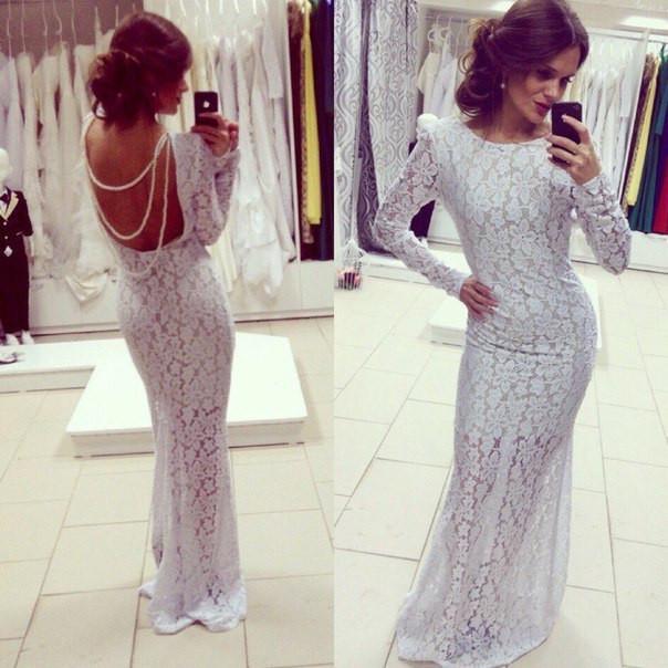Гипюровое платье в пол с открытой спиной и бусами - Бум маркет в Харькове f0189e17b56