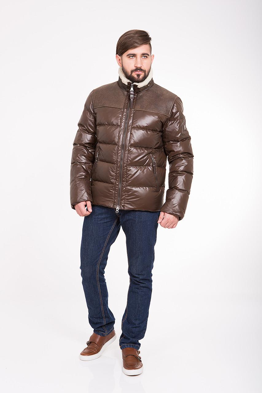 Зимний мужской пуховик с мехом и кожей CW13MD88