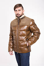 Зимний мужской пуховик с мехом и кожей CW13MD88, фото 2