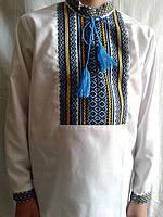 Вышиванка для мальчика, белый лен, 122-158 см