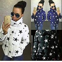 Женская короткая куртка на синтепоне 200 со звездами ЧЁРНАЯ СКЛАД