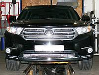 Декоративно-защитная сетка радиатора Toyota Highlander 2010- фальшрадиаторная решетка, бампер!, фото 1
