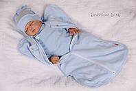 Европеленка для новорожденных на молнии Ribana, 0-4 мес., голубой