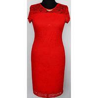 Красное нарядное гипюровое женское платье больших размеров р.48,50,52,56,58