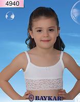"""Топик трикотажный с кружевом для девочки """"Гламур"""" TM Baykar, Турция оптом. Размер 3 (122-128см)"""