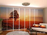 Панельная штора Закат и дерево комплект 8 шт