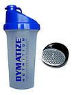 Шейкер 0,7л. Dymatize Nutrition прозрачный с синей крышкой, фото 4