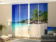 Панельная штора Пальма на пляже комплект 4 шт